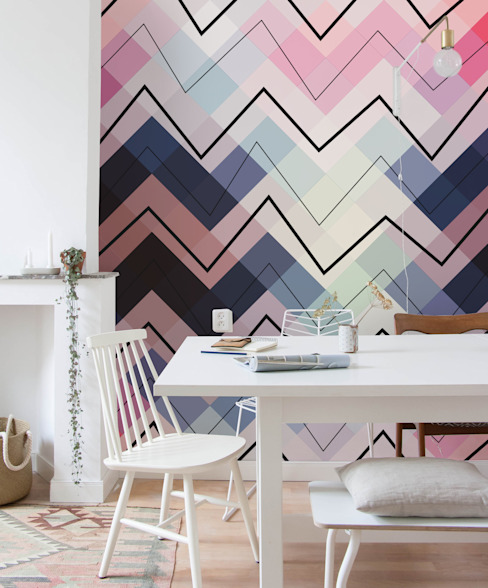 Pastel Chevron Eclectic style dining room by Pixers Eclectic
