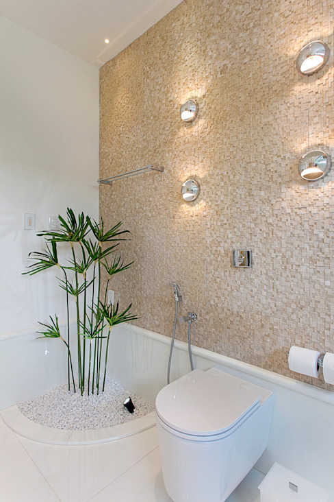 Casa Europa Arquiteto Aquiles Nícolas Kílaris Banheiros modernos Bege