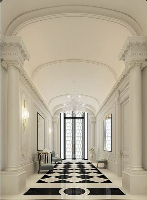 Black and White Hallway Design Ideas Pasillos, vestíbulos y escaleras clásicas de IONS DESIGN Clásico Mármol