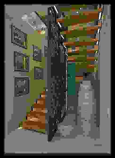 現代風玄關、走廊與階梯 根據 ESA PARK İÇ MİMARLIK 現代風