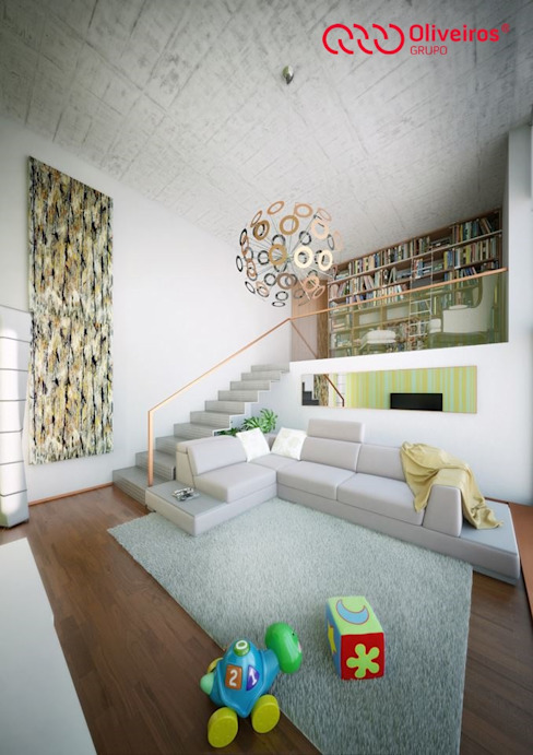 1381-PP-0814 Salas de estar modernas por Oliveiros Grupo Moderno