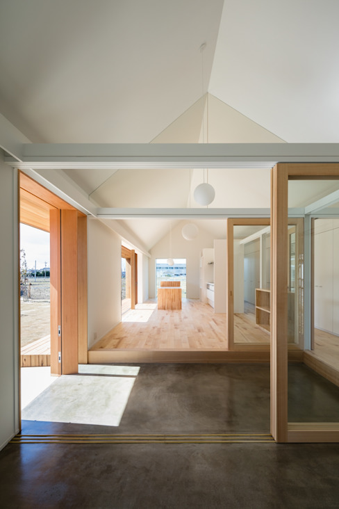 hm+architects 一級建築士事務所 Eclectic style corridor, hallway & stairs Concrete Grey