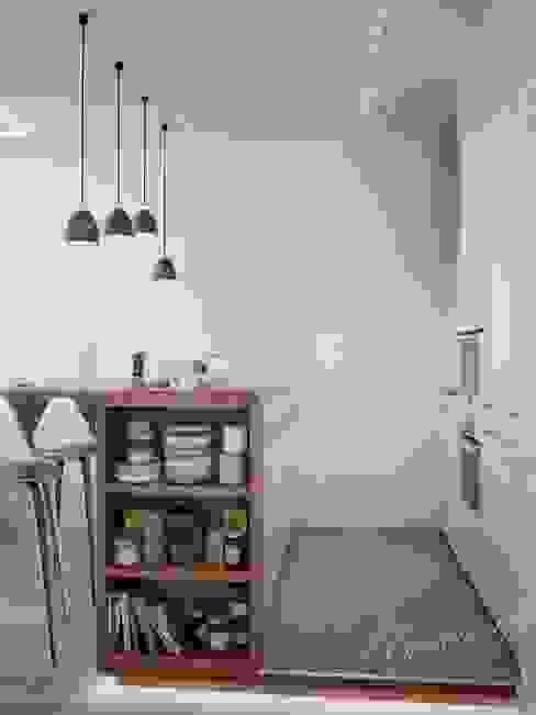 Скандинавская кухня с островком Студия Инстильер | Studio Instilier Кухня в скандинавском стиле Белый