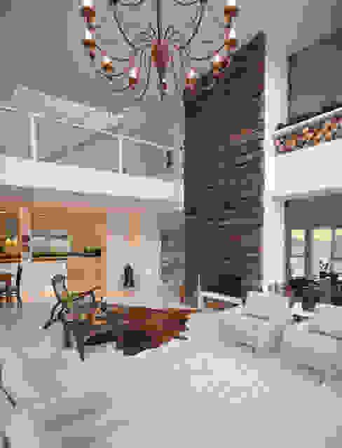 Lareiras: Salas de estar  por IDALIA DAUDT Arquitetura e Design de Interiores