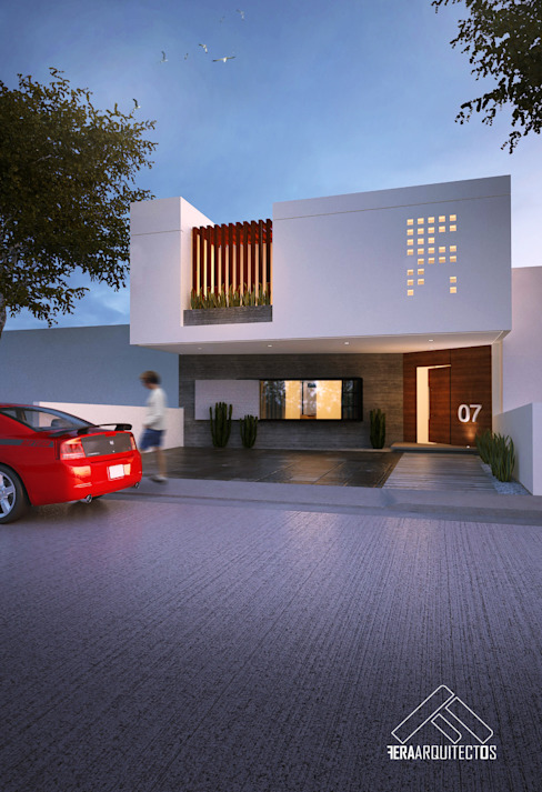FACHADA PRINCIPAL: Casas de estilo  por FERAARQUITECTOS, Minimalista Concreto