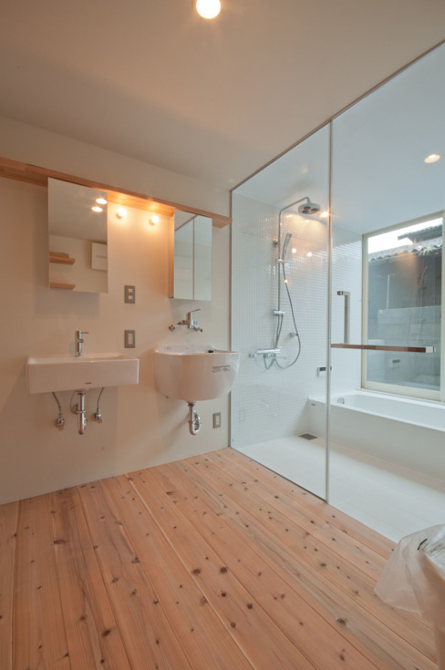 Rustic style bathroom by FrameWork設計事務所 Rustic