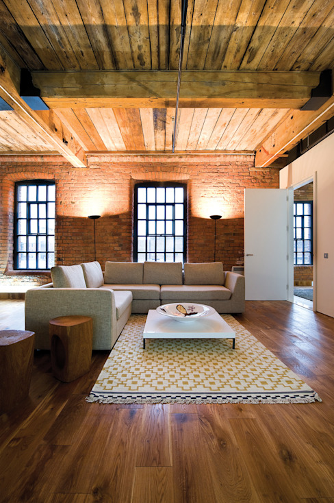 Albert Mill Apartments in Manchester Salones de estilo moderno de Studio Maurice Shapero Moderno