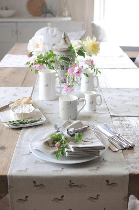 Sophie Allport Hare Table Setting:  Dining room by Sophie Allport,