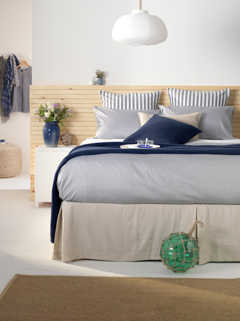 Tiny Stripe Navy Bedding Set Secret Linen Store 臥室配件與裝飾品 棉 Blue
