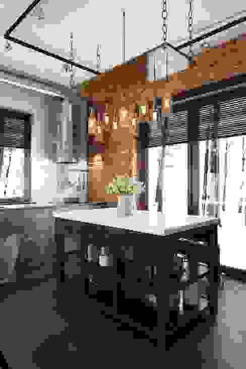 Воздушный кухонный остров Дизайн студия Алёны Чекалиной Кухня в стиле лофт