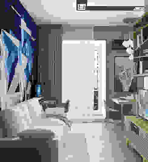 Гостиная комната совмещенная с кухней Гостиная в стиле минимализм от Yurov Interiors Минимализм Изделия из древесины Прозрачный