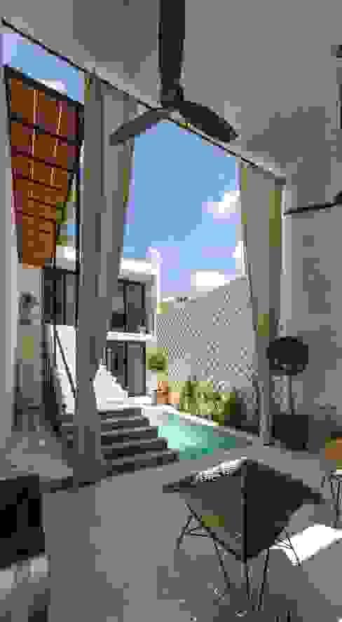 モダンデザインの テラス の Taller Estilo Arquitectura モダン コンクリート