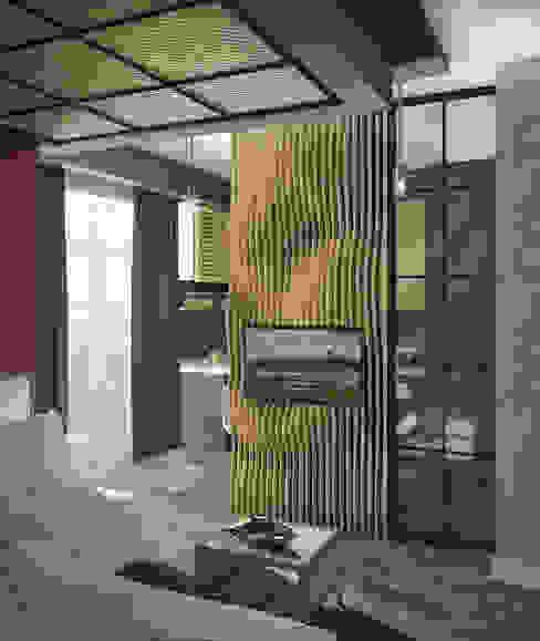 Salon de style  par Yurov Interiors, Industriel Bois Effet bois