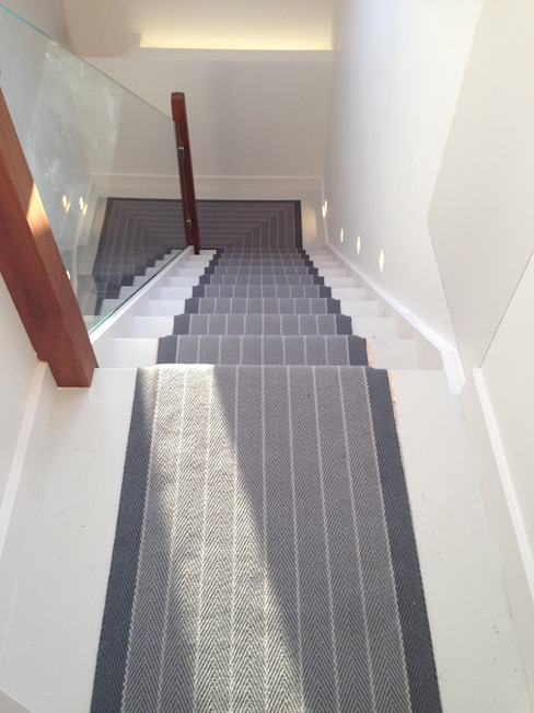 Victorian renovation - Stairs with patterned runner Modern corridor, hallway & stairs by My-Studio Ltd Modern Glass