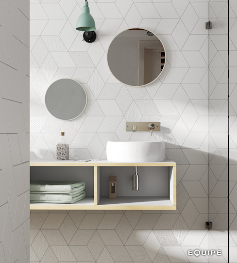 Rhombus White 14x24 Baños de estilo minimalista de Equipe Ceramicas Minimalista