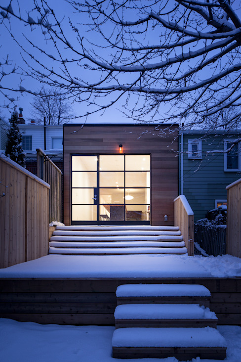 View of Cedar Clad Addition by STUDIO Z Scandinavian Solid Wood Multicolored