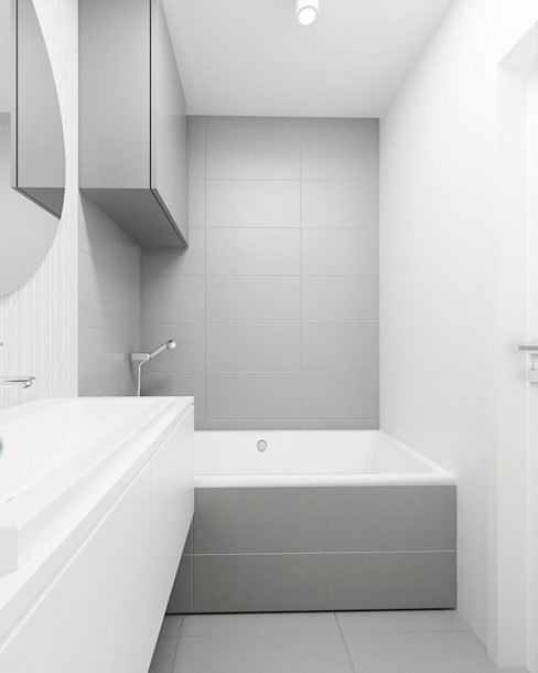 Grey Bathroom Minimalist style bathroom by FOORMA Pracownia Architektury Wnętrz Minimalist