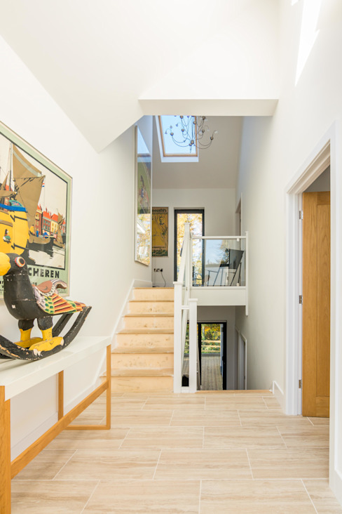 Glebe Wood House Modern corridor, hallway & stairs by Trewin Design Architects Modern