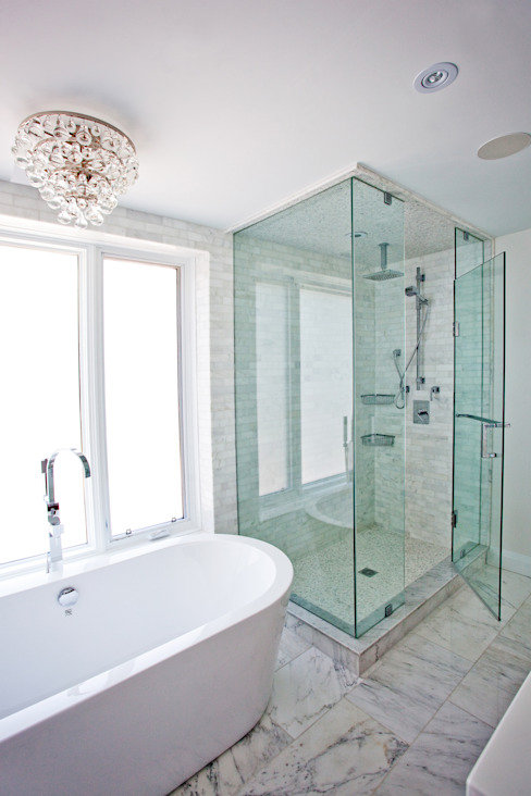 Beach Master Bathroom Collage Designs Modern bathroom Marble White