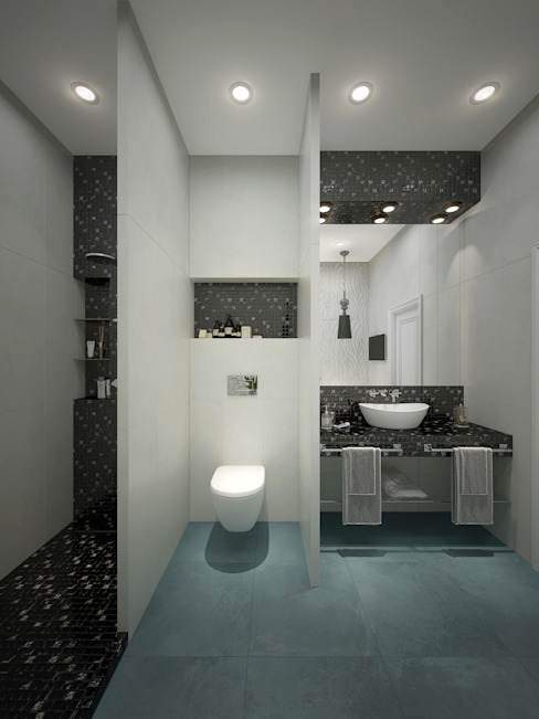 townhouse in modern style Modern Bathroom by Rubleva Design Modern