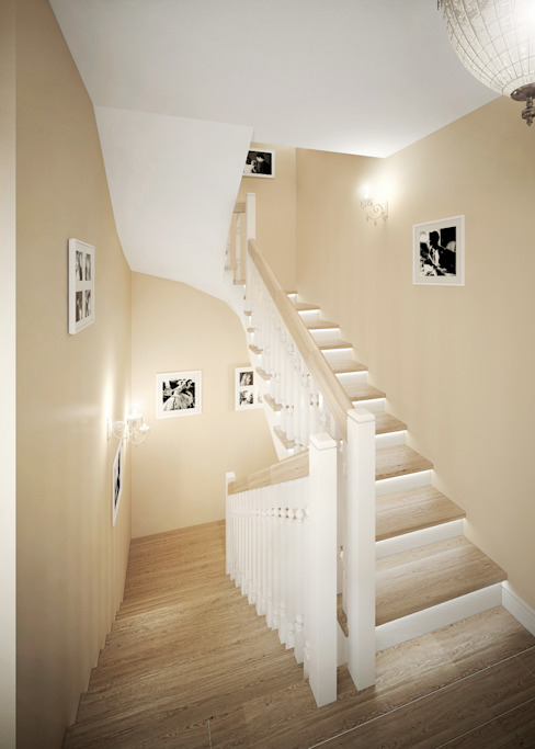 Classic style corridor, hallway and stairs by Rubleva Design Classic