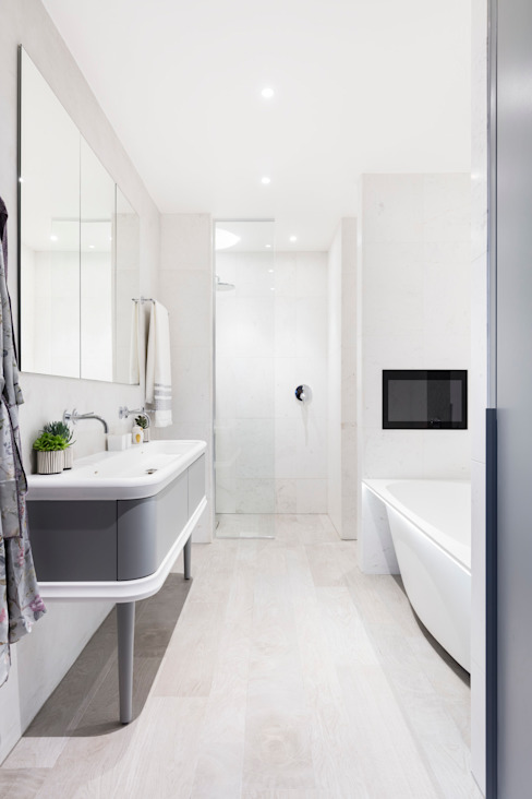 Modern New Home in Hampstead - master bathroom Black and Milk | Interior Design | London BathroomBathtubs & showers
