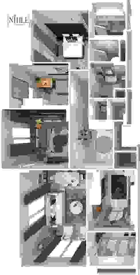 現代房屋設計點子、靈感 & 圖片 根據 nihle iç mimarlık 現代風
