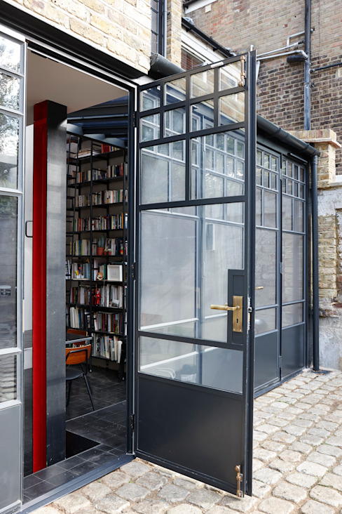 An external shot of steel doors Modern Windows and Doors by Trombe Ltd Modern Metal