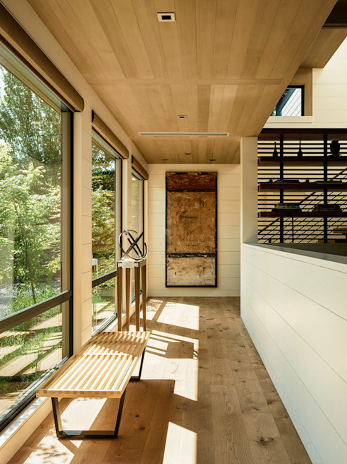 Portola Valley Ranch Modern Corridor, Hallway and Staircase by Feldman Architecture Modern Wood Wood effect