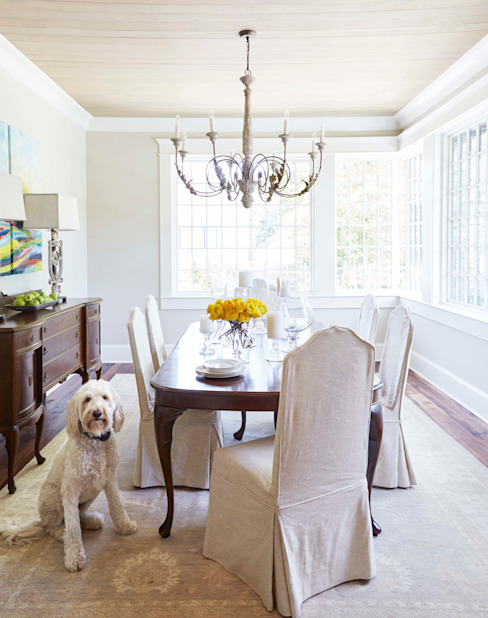 Brick and Stone Cottage Country style dining room by Christopher Architecture & Interiors Country