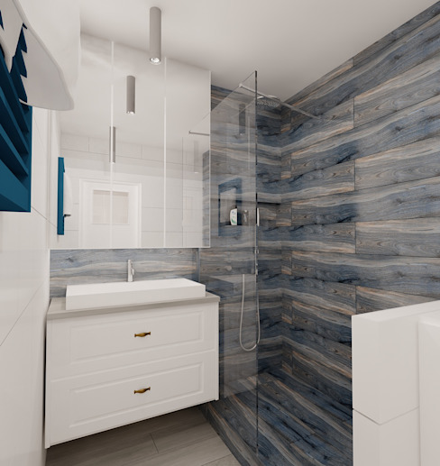 Projekt mieszkania 63m2 w Dąbrowie Górniczej Nowoczesna łazienka od Ale design Grzegorz Grzywacz Nowoczesny