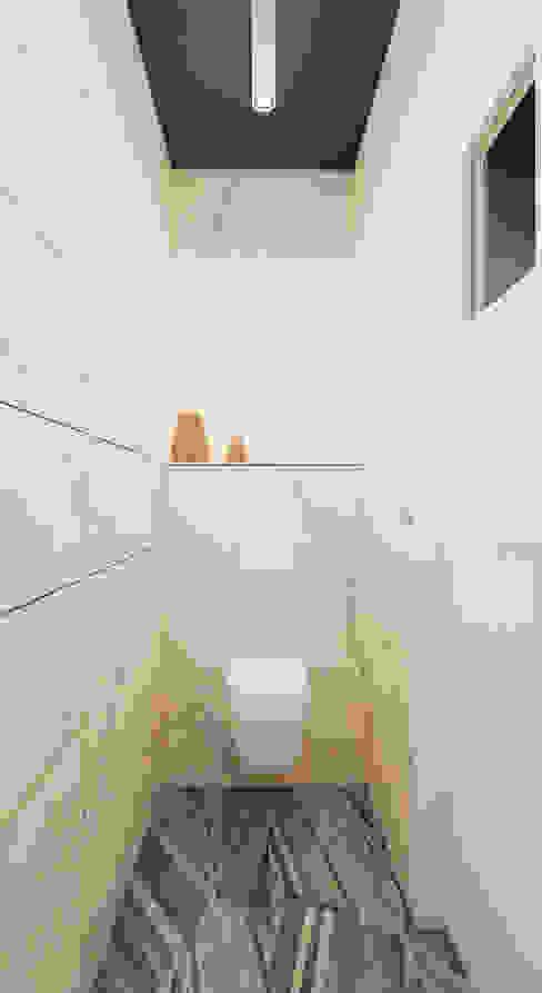 Projekt mieszkania 63m2 w Dąbrowie Górniczej Skandynawska łazienka od Ale design Grzegorz Grzywacz Skandynawski
