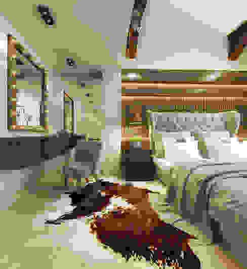 غرفة نوم تنفيذ decoroom , ريفي خشب Wood effect