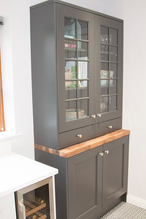 Graphite Grey Bespoke Dresser Unit, with Real Walnut Top by ADORNAS KITCHENS Classic Wood Wood effect