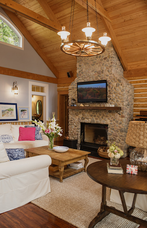 Fireplace Country style living room by Unit 7 Architecture Country