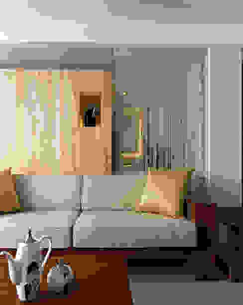 小坪數大空間清新自然風 现代客厅設計點子、靈感 & 圖片 根據 瓦悅設計有限公司 現代風