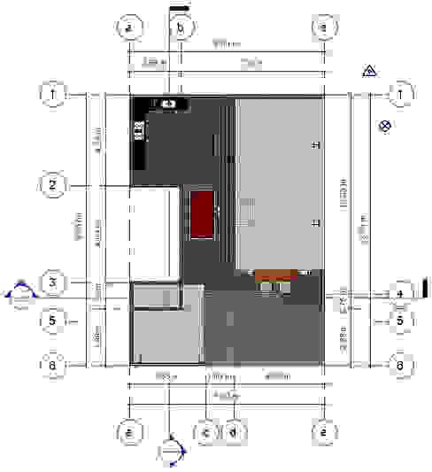 Planta de Conjunto- Terraza CDMX Balcones y terrazas modernos de Arqos Arquitectos Moderno Hierro/Acero