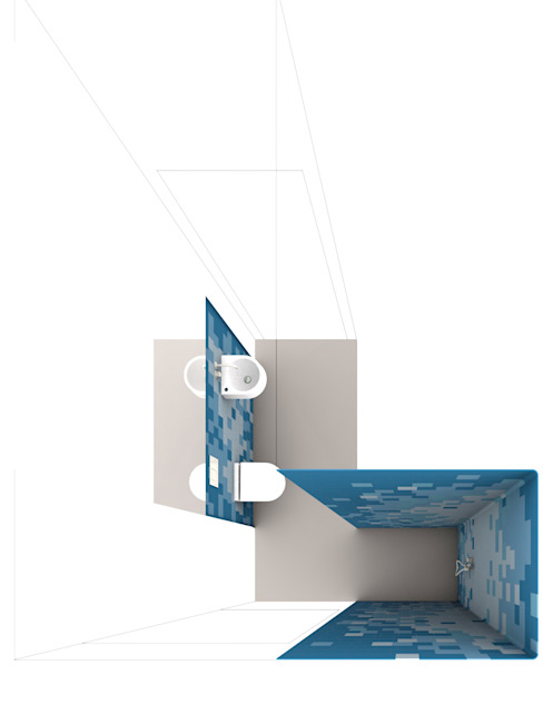 visualization guest bathroom Modern Bathroom by brandt+simon architekten Modern Tiles