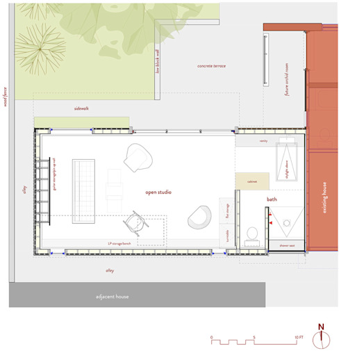 Studio Retreat, New Orleans: minimalist  by studioWTA, Minimalist