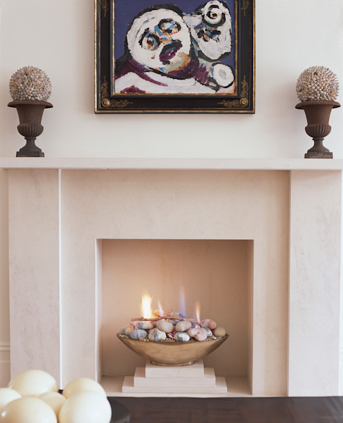 Open gas fireplace, contemporary, modern style من The Platonic Fireplace Company حداثي حجر جيري