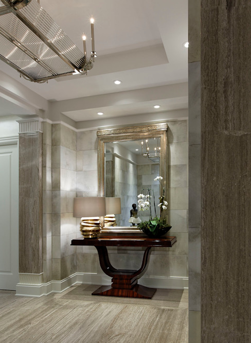 Foyer Douglas Design Studio Classic style corridor, hallway and stairs Grey