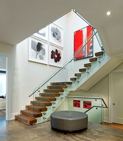 Grand Staircase Douglas Design Studio Modern Corridor, Hallway and Staircase