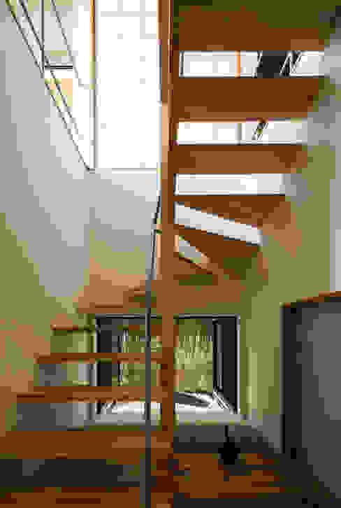 階段と坪庭 藤森大作建築設計事務所 モダンスタイルの 玄関&廊下&階段 木 白色