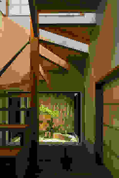 階段と坪庭 夜景 藤森大作建築設計事務所 モダンスタイルの 玄関&廊下&階段 木 白色
