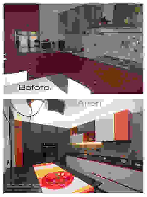 Prima e Dopo in cucina: resina e colore di Rachele Biancalani Studio Moderno