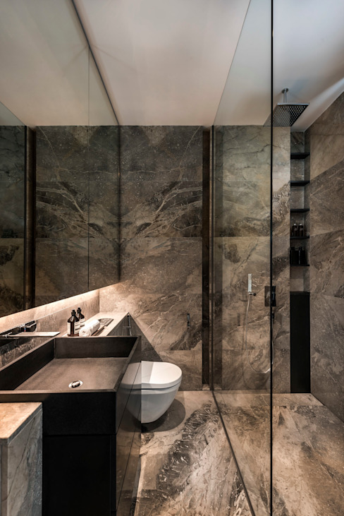 Courtyard House:  Bathroom by ming architects,Modern