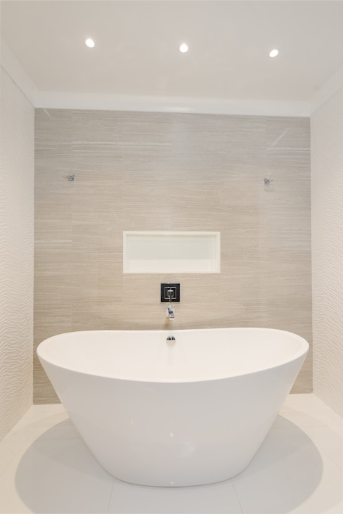 Master Bathroom with Free standing vessel tub Modern bathroom by HOMEREDI Modern Quartz