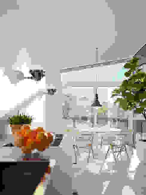 Impressie interieur watervilla in Dorpshaven, Aalsmeer agNOVA architecten Scandinavische eetkamers