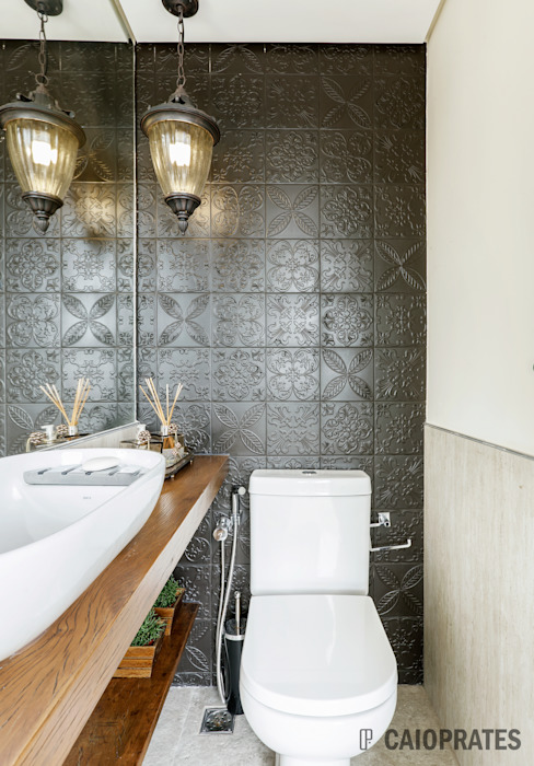 Baños de estilo  por Caio Prates Arquitetura e Design, Moderno Madera Acabado en madera