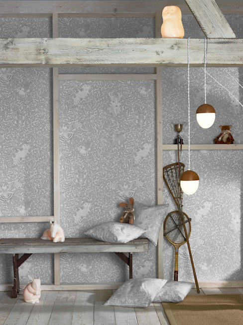 FOREST Dust Dove Grey Wallpaper 10m Roll de Hevensent Escandinavo Papel